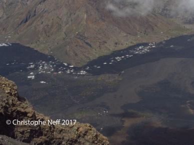vue sur Portela depuis le sommet du Pico do Fogo 9.11.2017