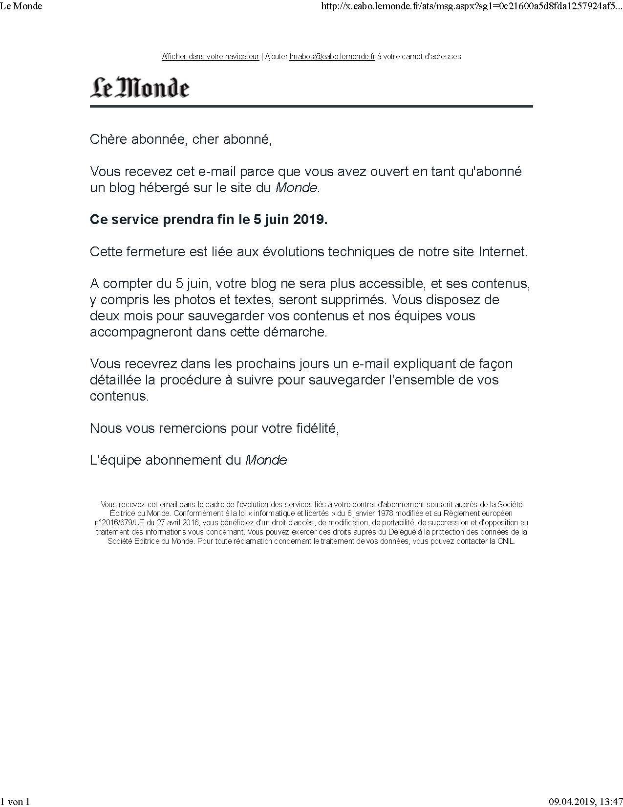 Le Monde fin du blog