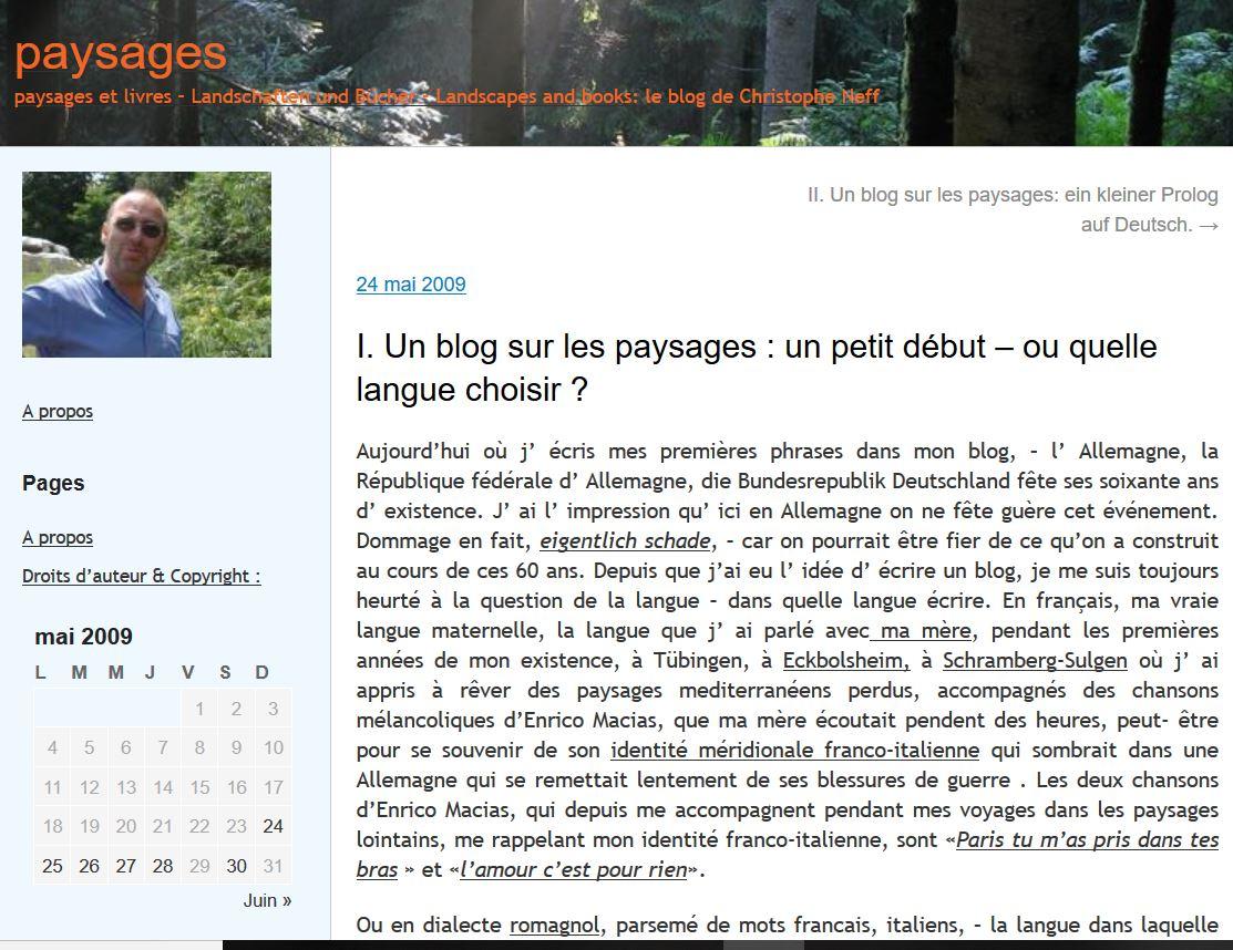 screenshot ersterr paysagesblog mai 2009