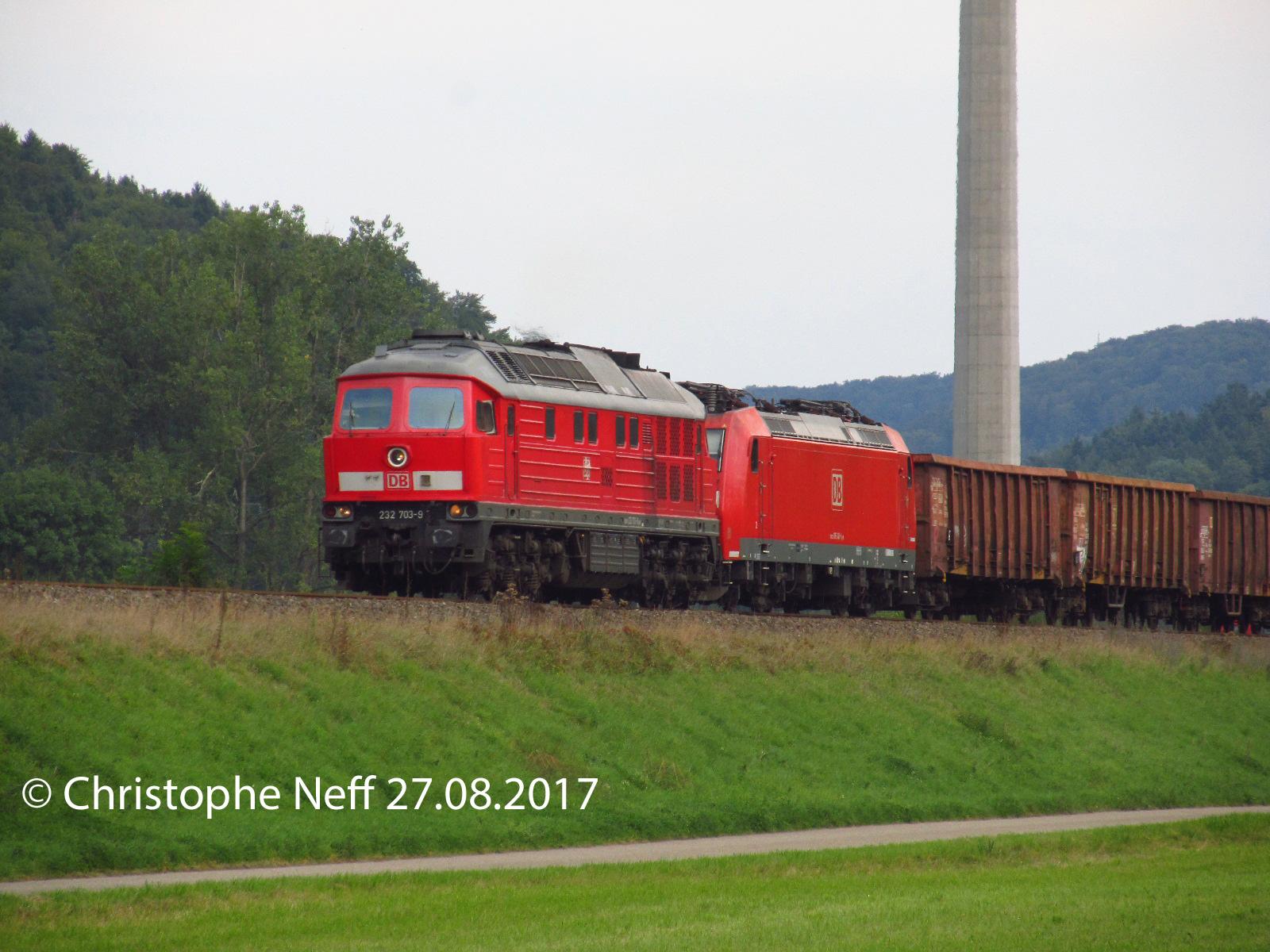 Rastatt - Umleiter mit 232-703-9 bei Horb-Mühlen 27.08.2017
