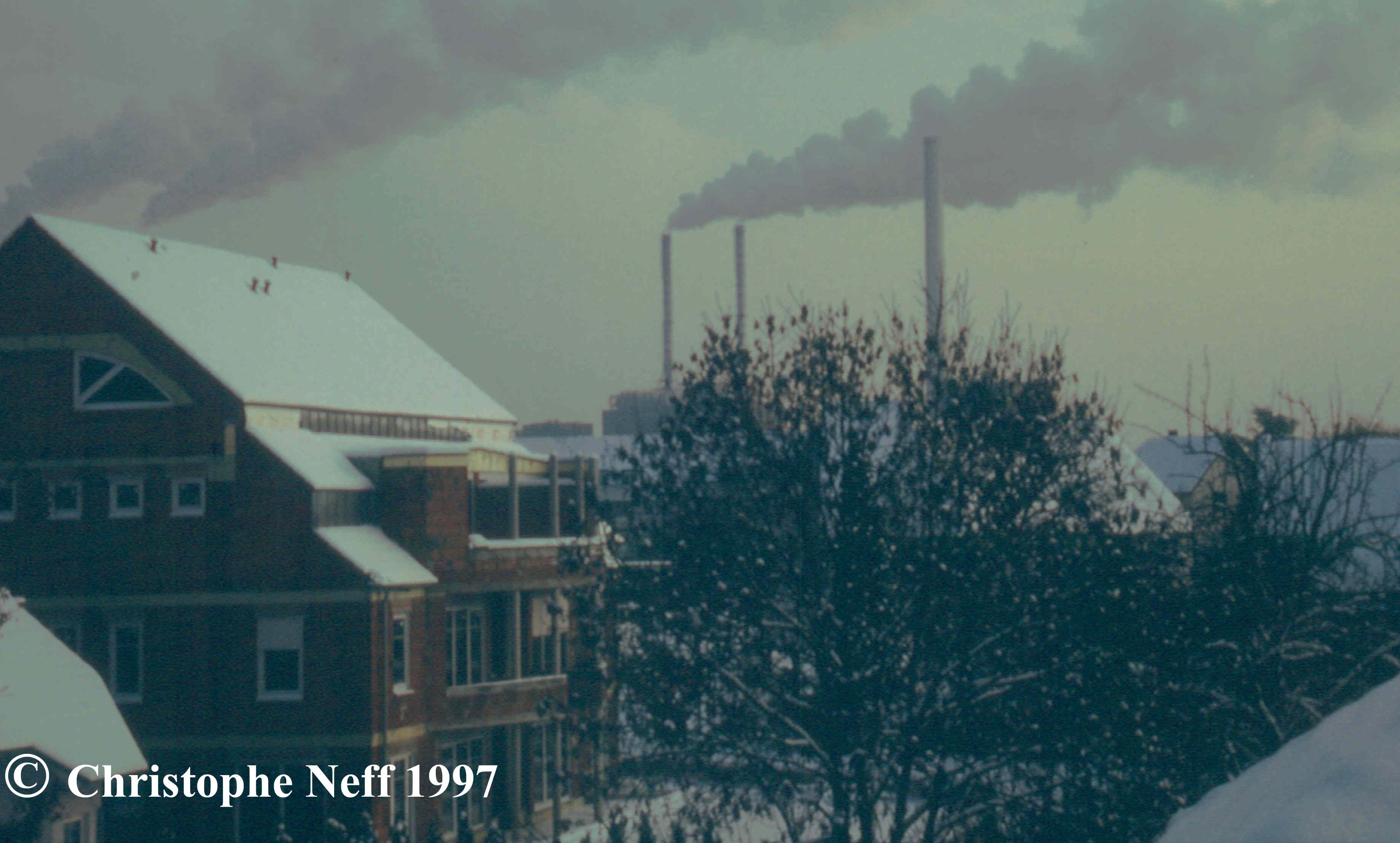 Winterlicher Blick auf Neckarau Jan 1997