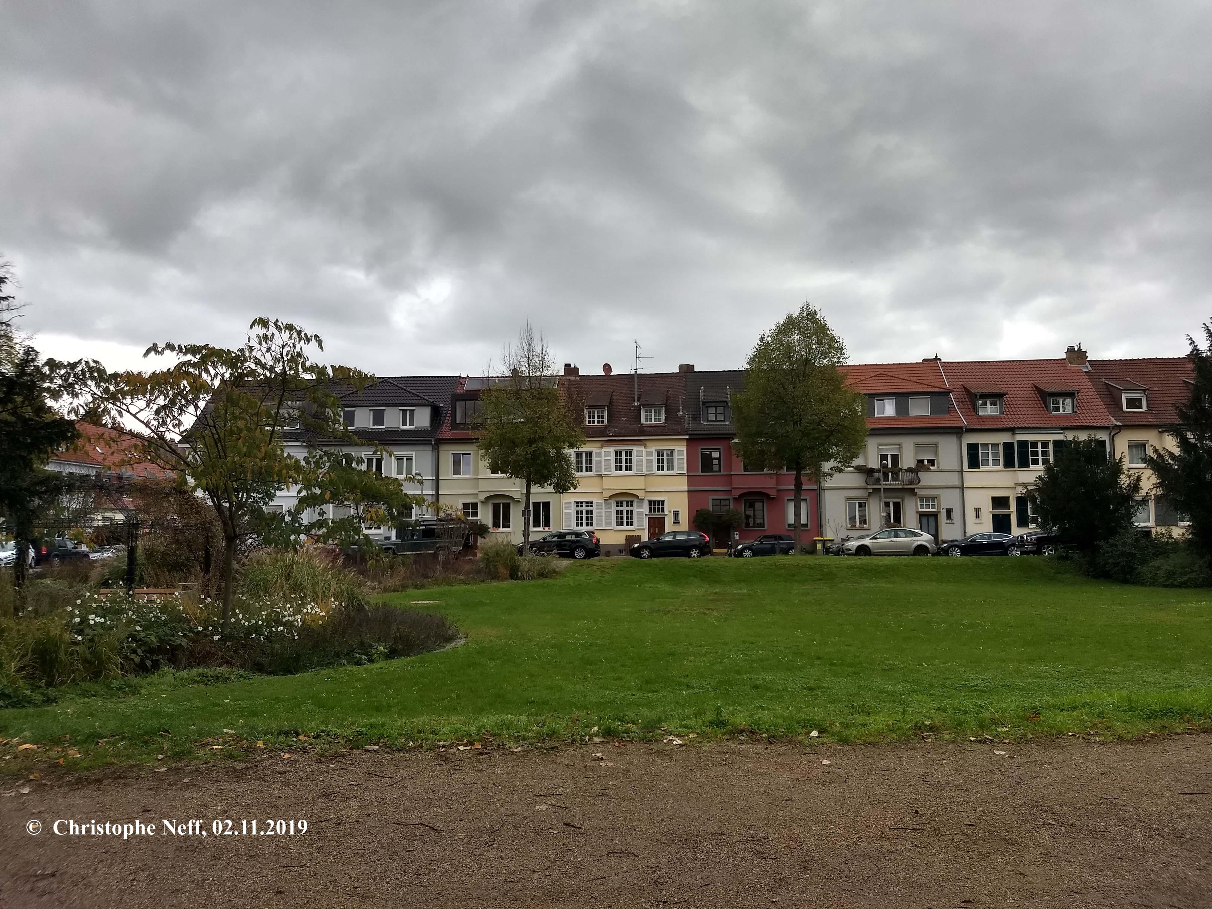 Novemberblick auf die Grünewaldstraße in Mannheim - Neuostheim 02.11.2019