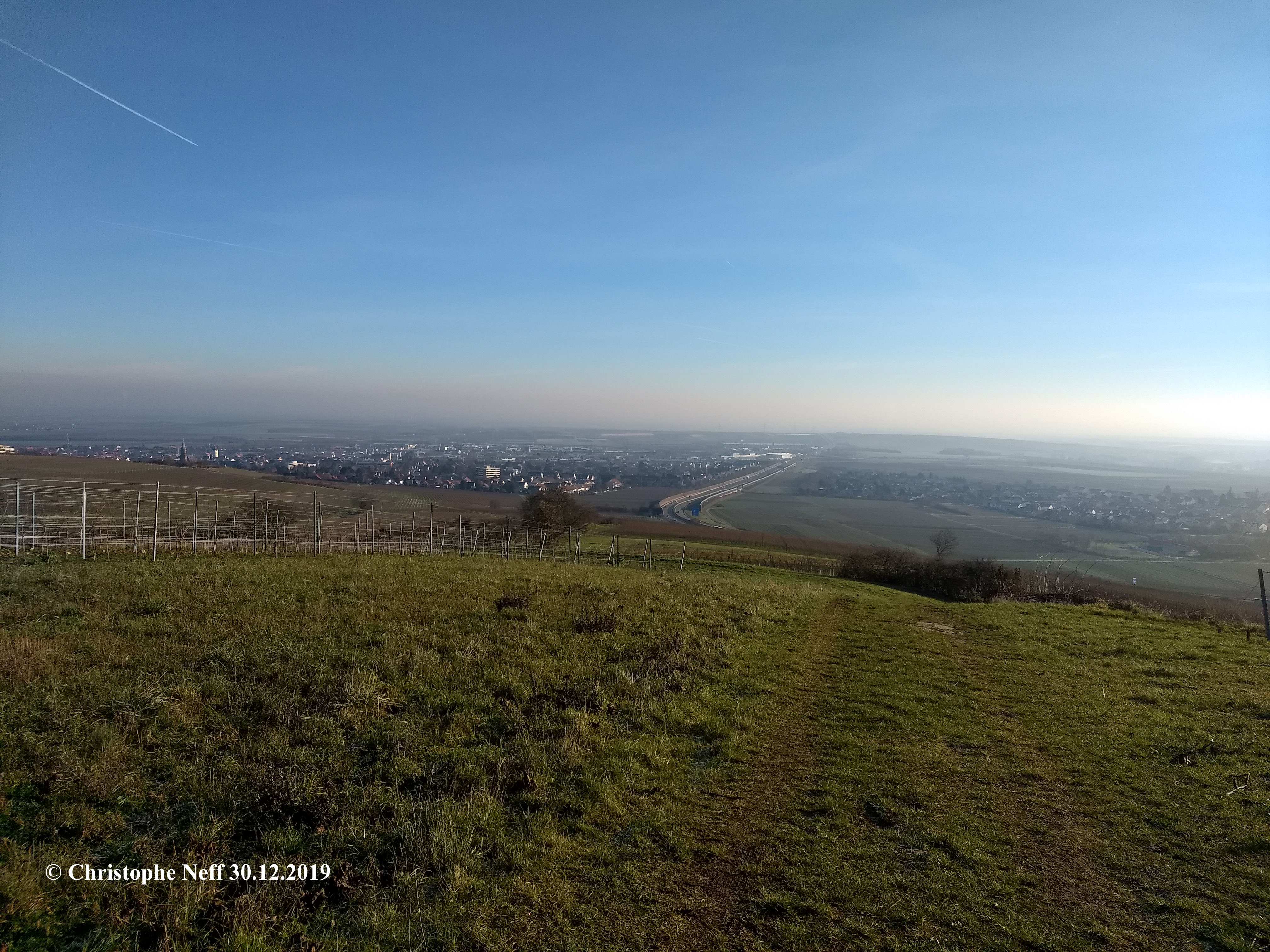 Vue depuis le Grünstadter Berg sur Grünstadt 30.12.2019